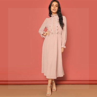 Chic Boho Long Dress In Pink finely tailored