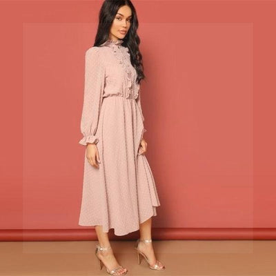Chic Boho Long Dress In Pink chic