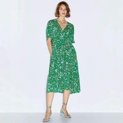 Chic Boho Long Dress In Green low price