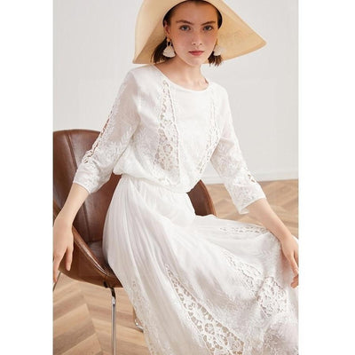 Boho Lace Long Dress finely tailored