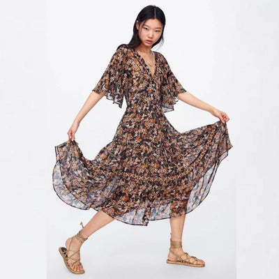 Long Flowery Hippie Dress style