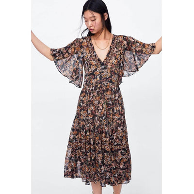 Long Flowery Hippie Dress chic