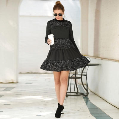 Boho Black Dress Chic Ladylike