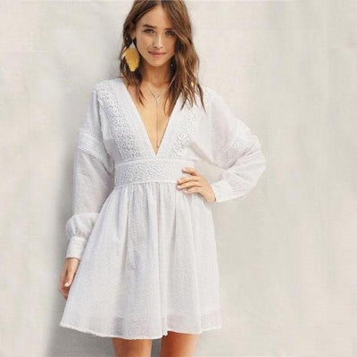 White Dress Short Lace Boho low price
