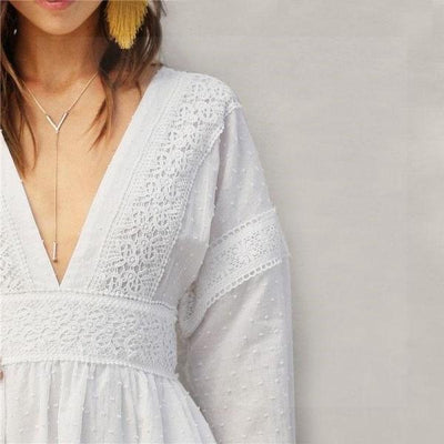 White Dress Short Lace Boho bohemian life