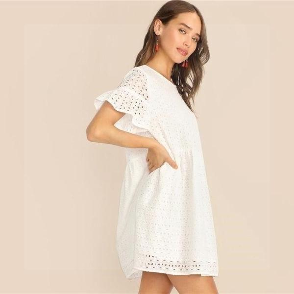 White Boho Chic Short Dress 2020