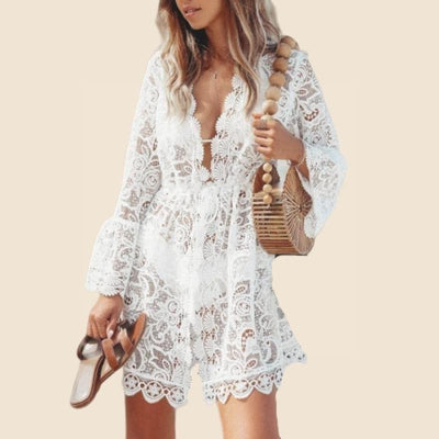 Boho White Dress With Chic Lace low price