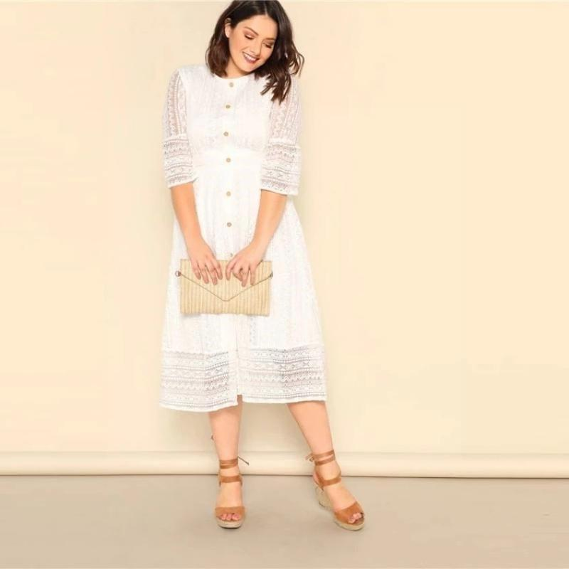 Boho White Dress Big Size chic