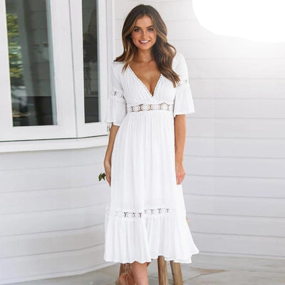 White Dress Hippie Chic Style bohemian life