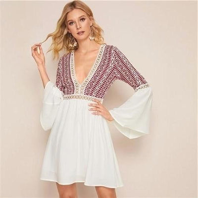 Short White Boho Dress women