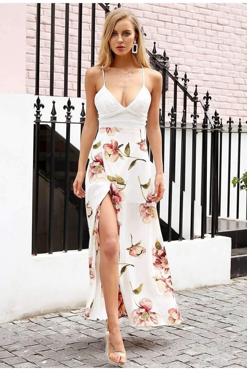 Flowery White Boho Dress