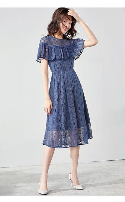 Boho Chic Dress Navy Blue high quality