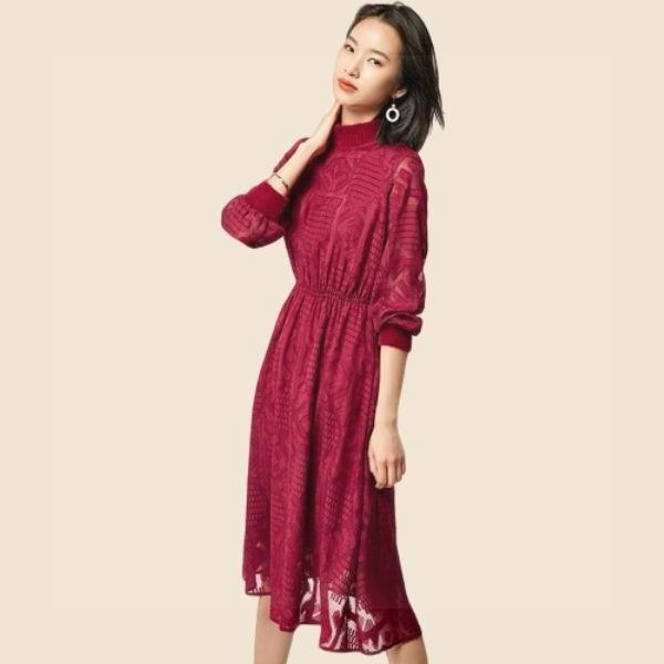 Boho Chic Red Dress Ladylike
