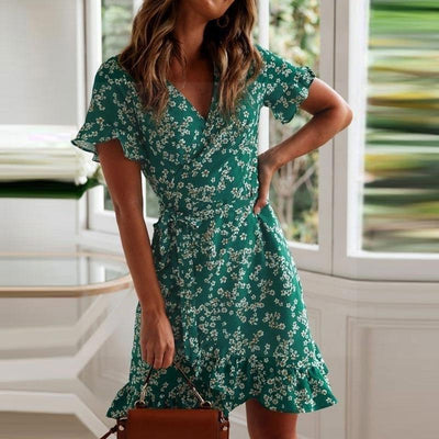 Chic Boho Dress In Water Green style
