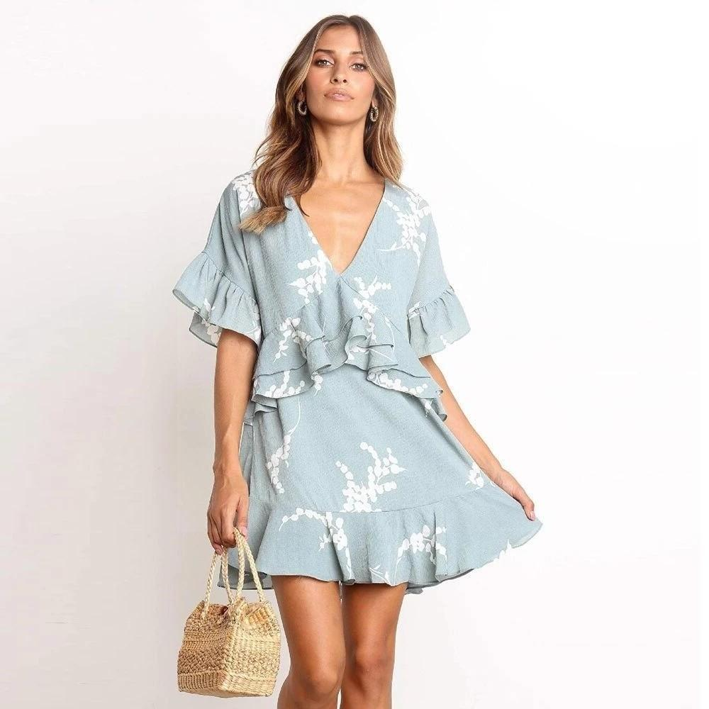 Boho Short Dress Blue boho chic