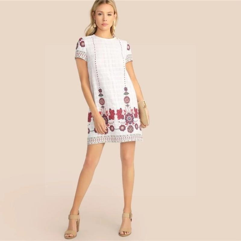 Boho Short Dress Chic White hippie
