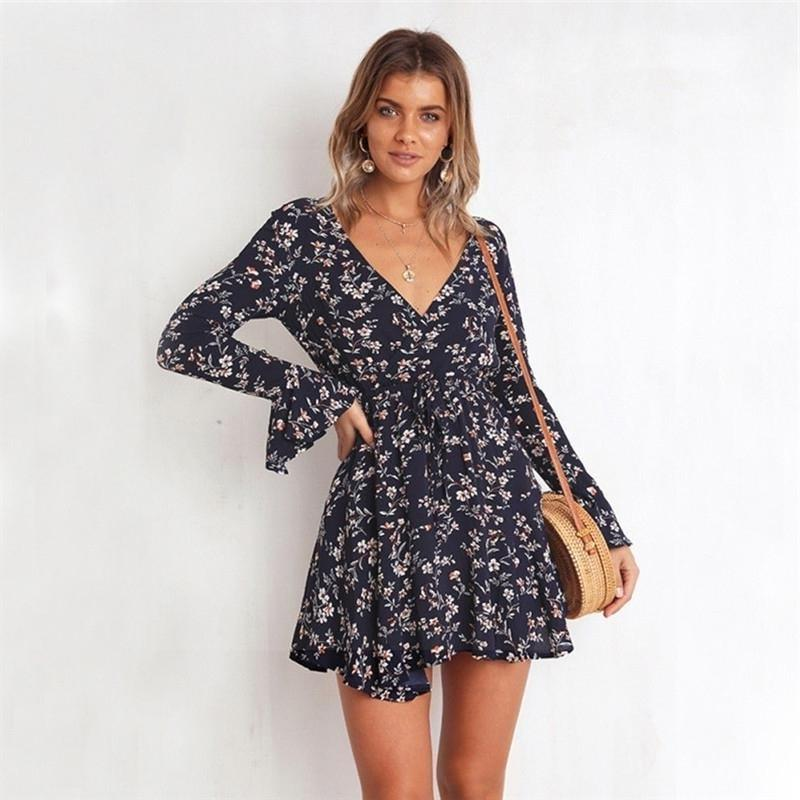Boho Short Dress With Long Sleeves hippie