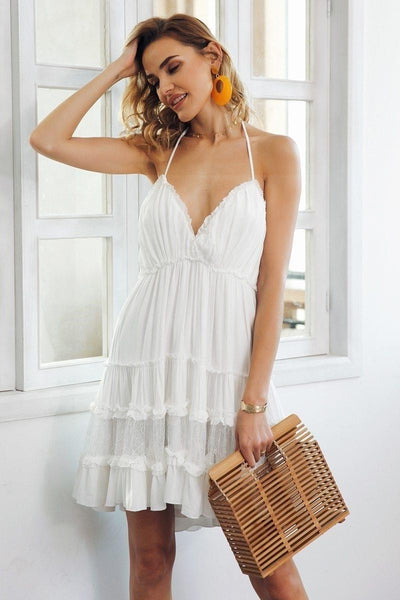 White Boho Lace Boho Chic Beach Dress low price