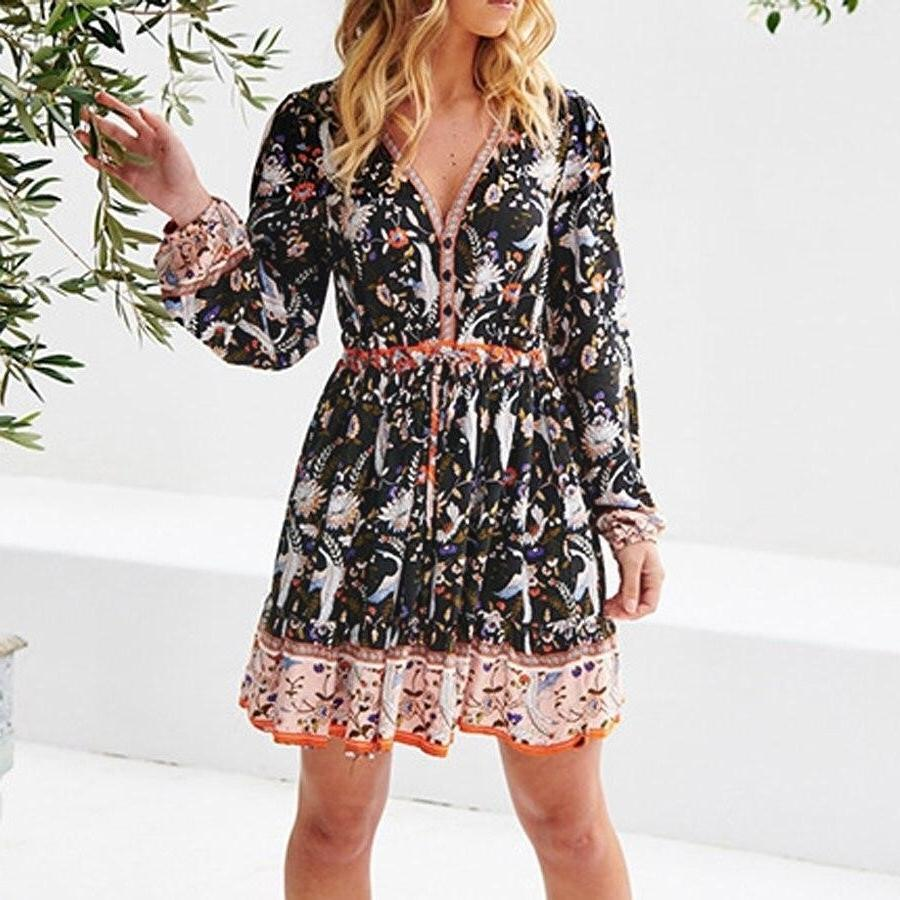 Black Boho Chic Short Dress low price