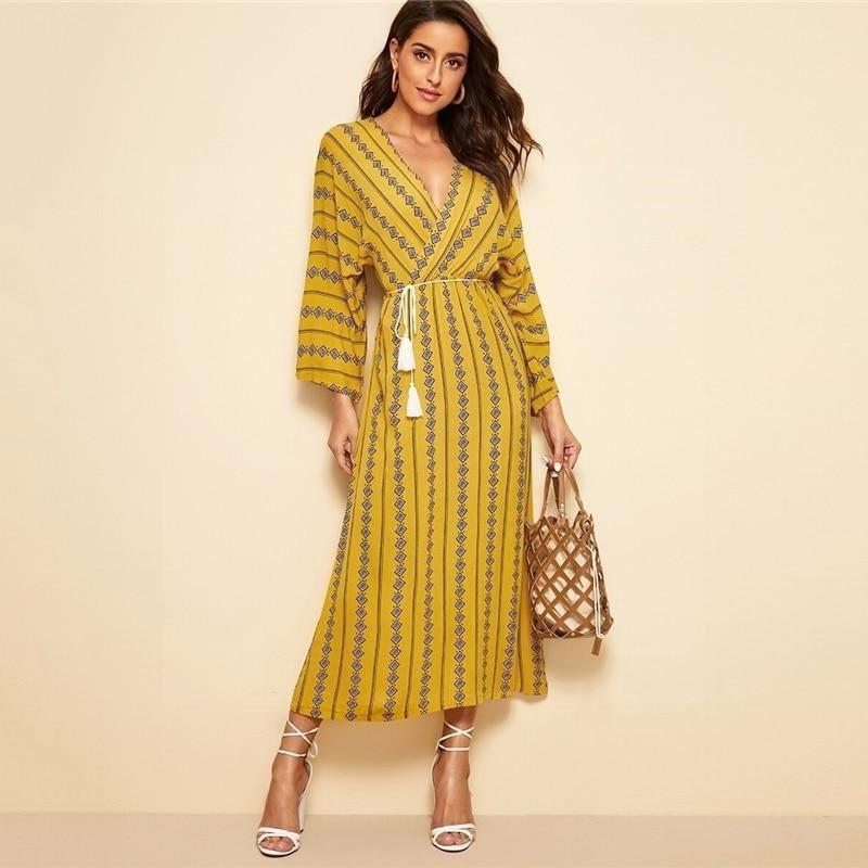 Boho Chic Long Dete Dress finely tailored