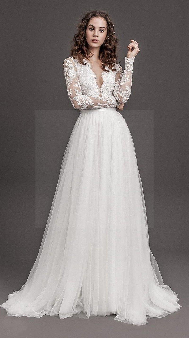 Boho Lace Backless Wedding Dress cheap