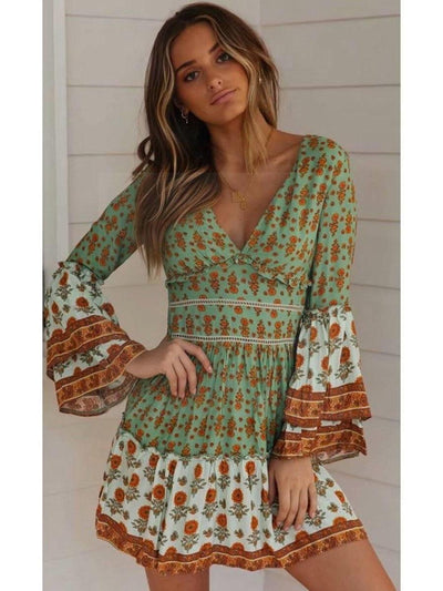 Green Hippy Dress bohemian