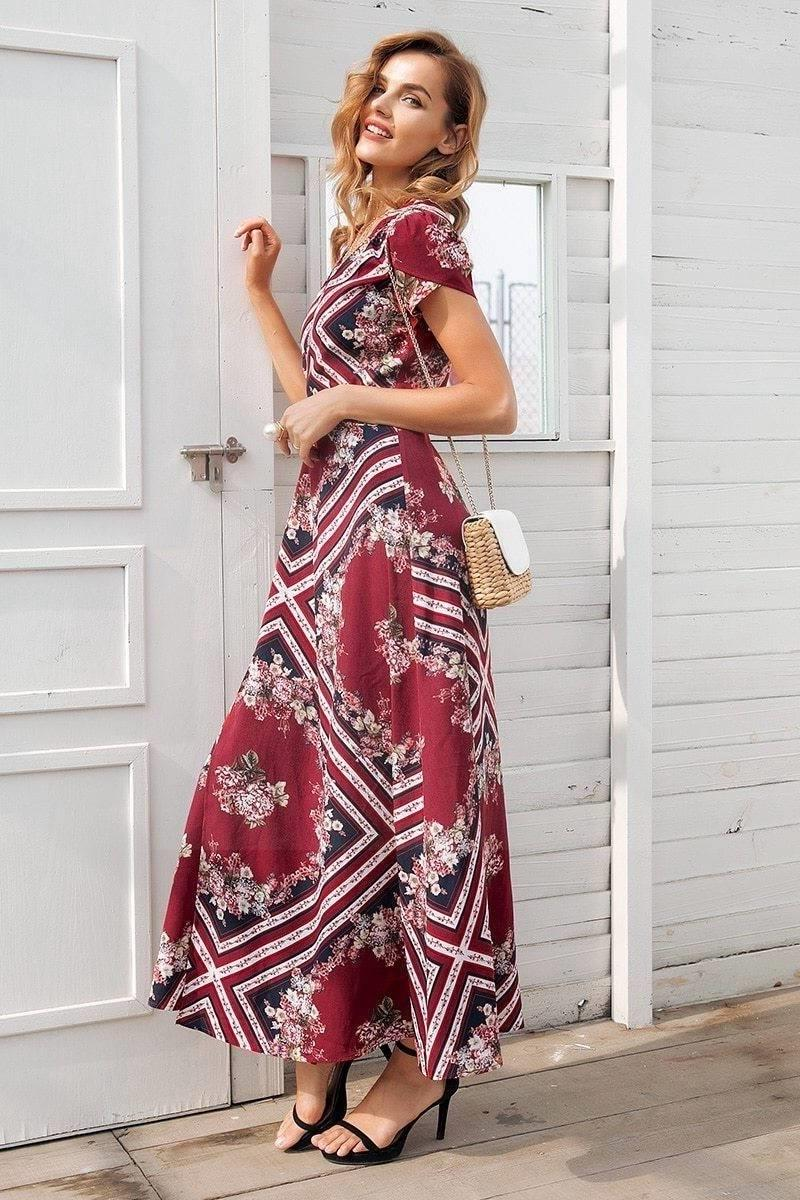 Boho Autumn Long Dress hippie