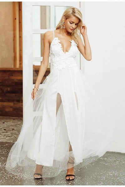 White Chic Boho Long Dress women
