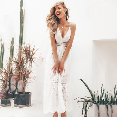 White Chic Boho Long Dress style