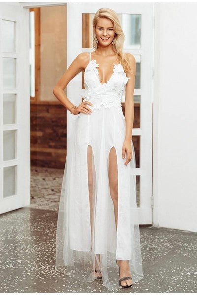 White Chic Boho Long Dress low price