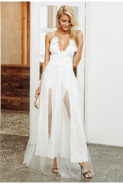 White Chic Boho Long Dress boho chic