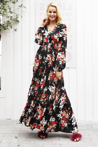 Boho Chic Floral Long Dress finely tailored
