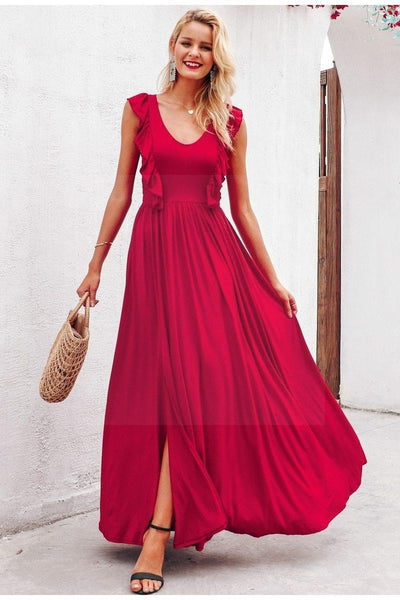 Chic Boho Long Dress In Red chic