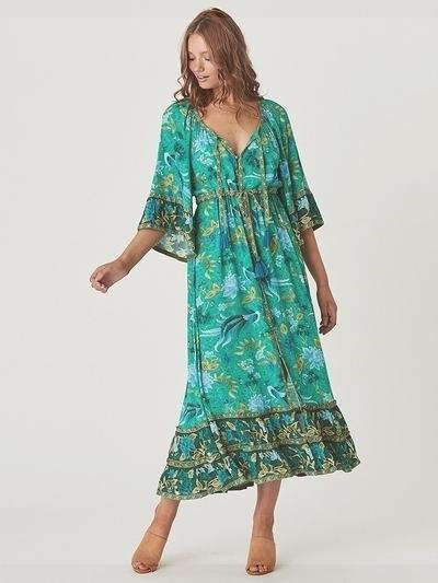 Green Boho Long Dress boho