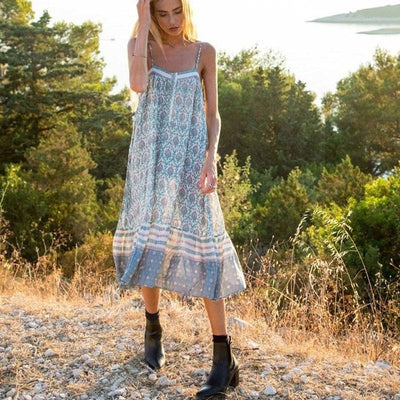 Boho Chic Long Dress Blue style
