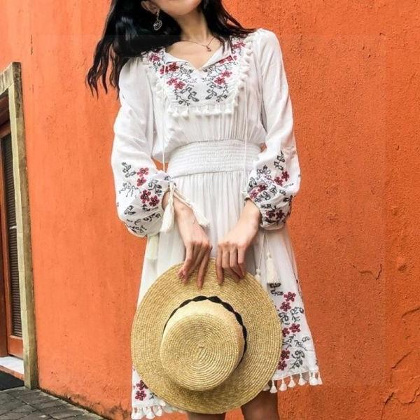Boho Long Dress Chic Cotton