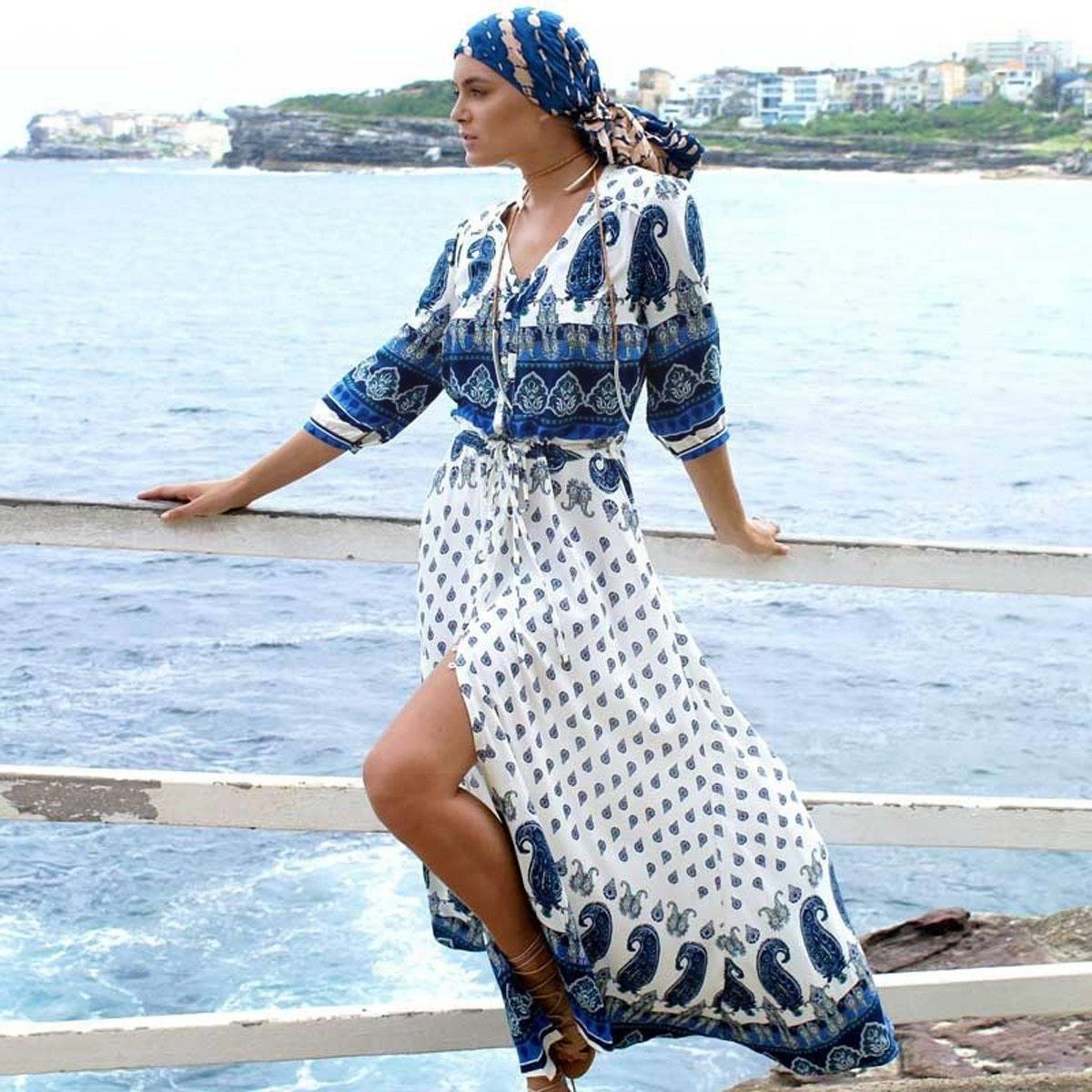 Boho Long Dress Navy Blue women