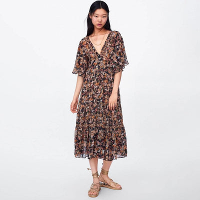 Long Flowery Hippie Dress low price