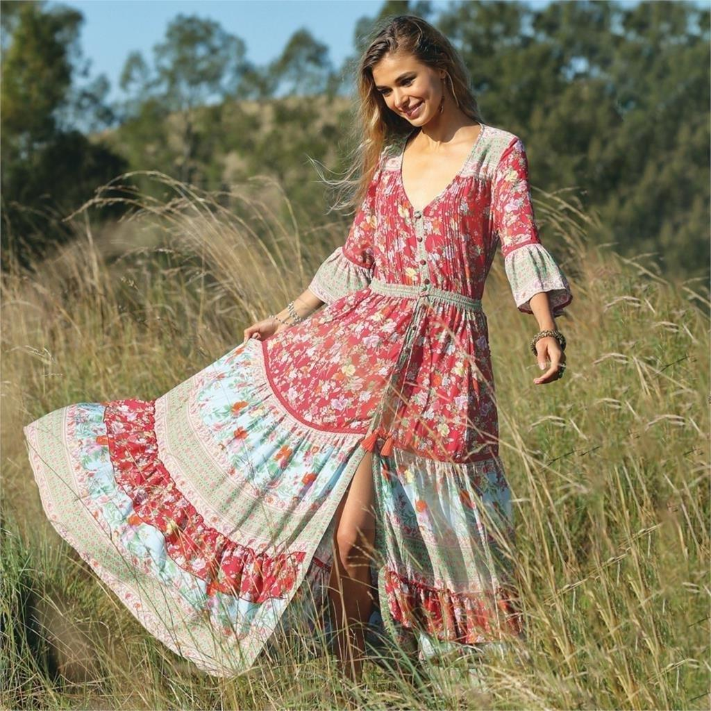 Boho Chic Pink Long Dress cheap