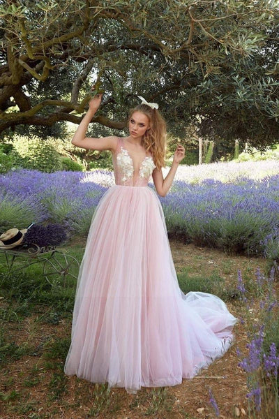 Pink Boho Wedding Dress low price