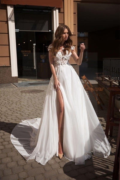 Backless Boho Wedding Dress high quality