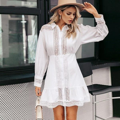 White Boho Short Dress Lace Long Sleeve chaming