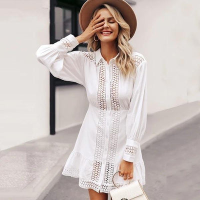 White Boho Short Dress Lace Long Sleeve hippie