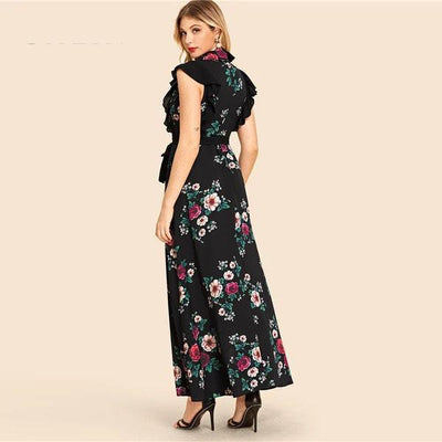 Boho Long Flowered Dress Chic chaming