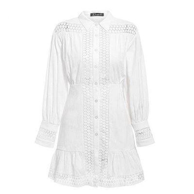 White Boho Short Dress Lace Long Sleeve best