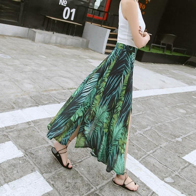 Dark Green Boho Long Skirt women