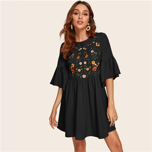 Black Boho Short Dress With Flowers style