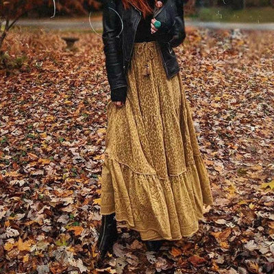 Boho Long Skirt Flowing Mustard