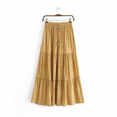 Boho Long Skirt Flowing Mustard finely tailored