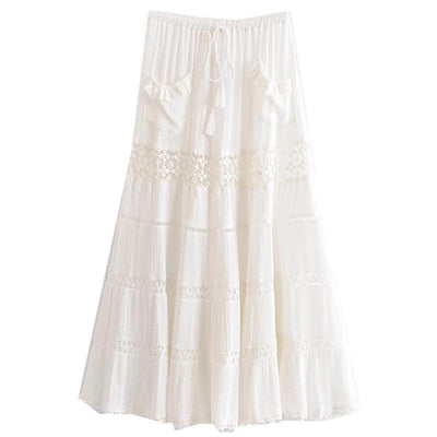 Boho Long Skirt White Lace chaming